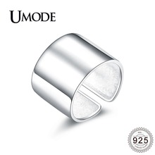 UMODE 2019 New 925 Sterling Silver Big Open Cuff Rings for Women Fashion Polished Adjustable Ring Jewelry ALR0329