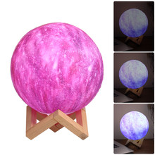 3 Colorful 3D Print Moon Lamp Luna Night Lamp Diameter USB Dimmable Touch Usb Led Night Light Decor Creative Gift Moon Light(China)