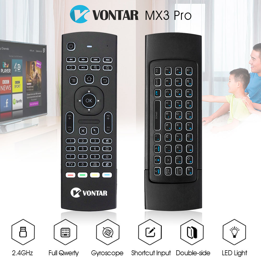 VONTAR MX3 Pro Russian Backlight Air Mouse 2.4G wireless keyboard with IR learning Gyroscope Gamepad for android tv box x96 mini
