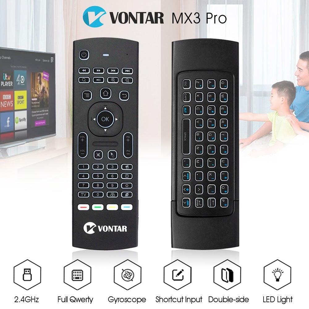 VONTAR MX3 Pro retroiluminación rusa Air Mouse 2,4g teclado inalámbrico con IR aprendizaje giroscopio Gamepad para android tv box x96 mini