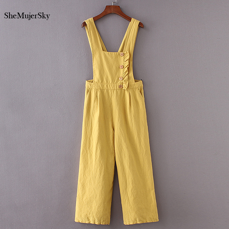 953dc6443d1 SheMujerSky Yellow Wide Leg Jumpsuit Spaghetti Strap Elegant mamelucos  Womens Jumpsuits Overalls