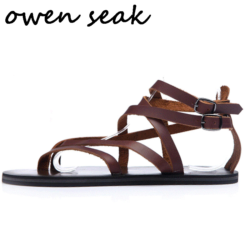 Owen Seak Uomini Casual Sandali Scarpe Roma Gladiatore Sandali di Vibrazione di trasporto di Cadute di scarpe Da Ginnastica In Pelle di Lusso Degli Uomini di Owen Estate Scarpe-in Sandali da uomo da Scarpe su  Gruppo 1