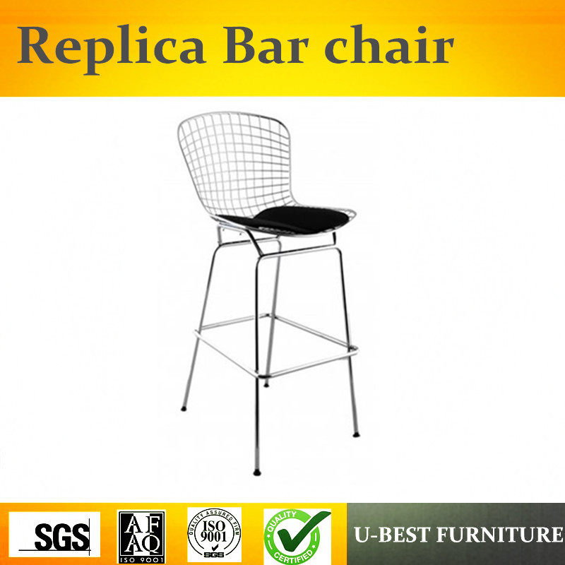 U-BEST Modern Design Barstool With Mesh Structure And Seat Cushion,high Back And Padded Seat Bertoia Style Chromed Wire Stool
