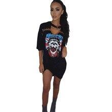 Summer Sexy Deep V Neck Mini Dress Women Lady Skeleton Print Short Sleeve Tshirt Club Party Casual Dress Clubwear Vestido Feb21