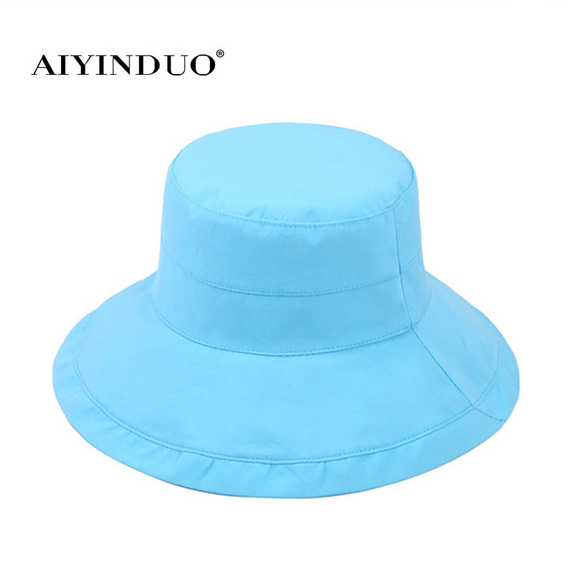 Double Surface Available Print Flower Women Cloth Cap Summer Sunscreen Shade Caps Crimping Candy Colors Foldable
