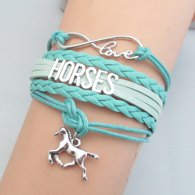 Infinity Love Letters Horse Bracelet Charm Bracelets New Style Handmade Leather For Christmas Gifts