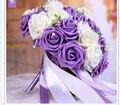 2017 Barato de La Boda/Ramos de Dama de honor Púrpura y Blanco Nupcial ramo de la boda Artificial Rose Bouquet de mariage