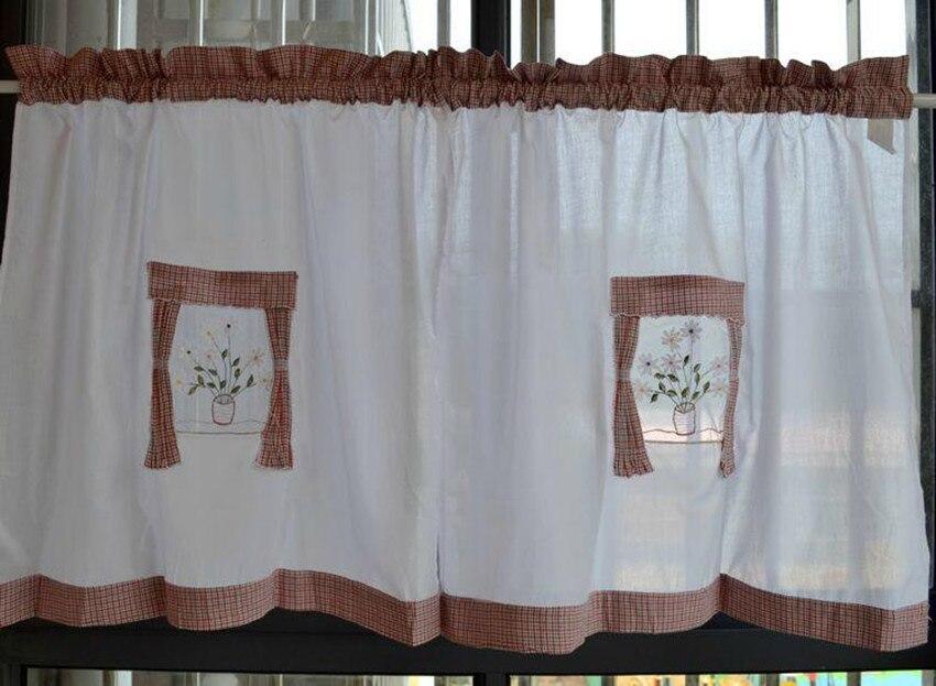 american country style empalme blanco rojo y azul a cuadros de algodn bordado cortina de