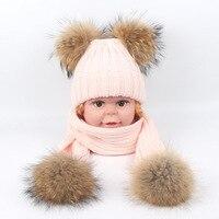 New Fashion Kids Real Fur Pom Pom Hat Baby Winter Crochet Earflap Hat Girls Boys Knitted Beanie Real Fur Pompom Hat for Children