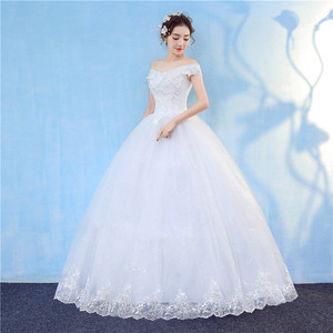Image 3 - Nova chegada 2020 frete grátis vintage elegante rendas branco vestidos de casamento barco pescoço plus size vestido de baile robe de barato