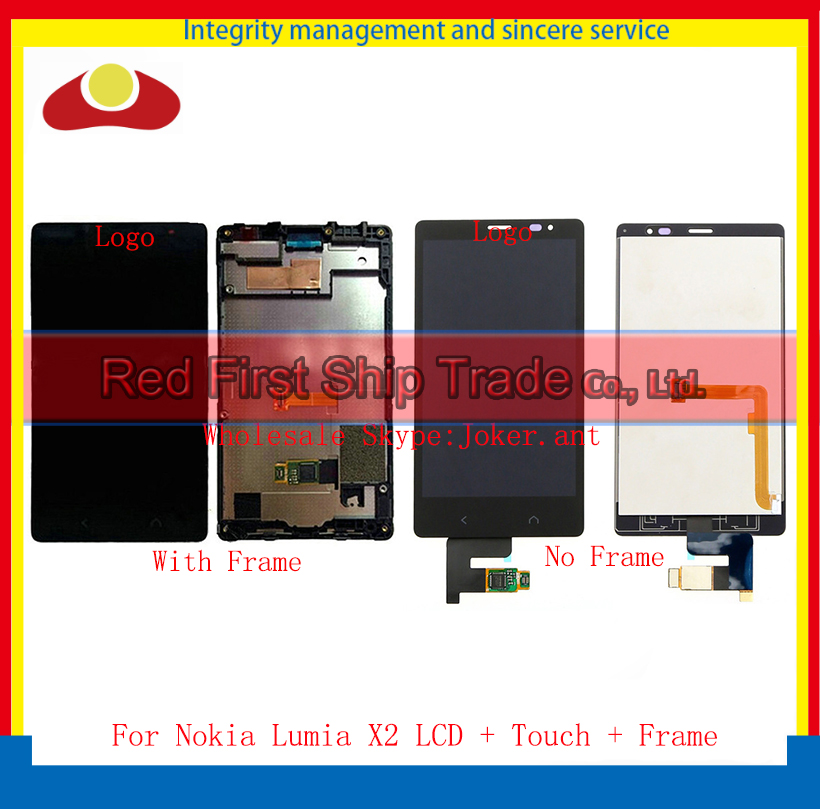 10Pcs/lot DHL EMS High Quality For Nokia Lumia X2 LCD Display Touch Screen Digitizer Sensor Assembly Complete Panel With Frame 50pcs lot ems dhl high quality lcd for