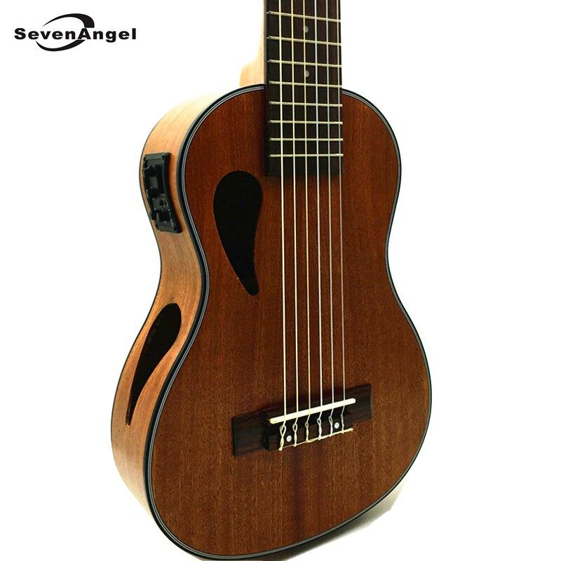 SevenAngel marque 28 pouces ukulélé électrique 6 cordes guitare hawaïenne Sapele Uku musique tête classique Ukelele avec ramassage EQ