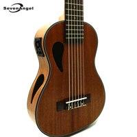 SevenAngel бренд 28 дюймов Электрический Укулеле 6 Строки Гавайская гитара сапели УКУ классической музыки головы Ukelele с Пикап EQ