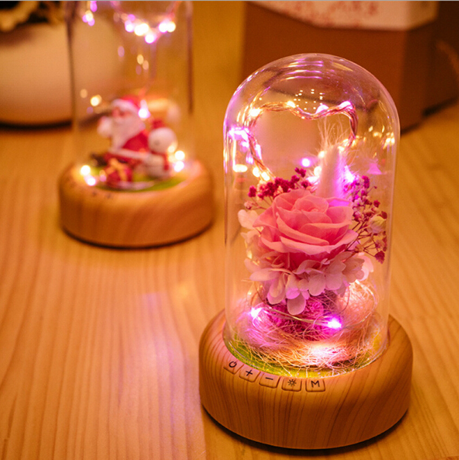 Romantic Rose Glass Bottle Lamp with String light Rechargeable Wireless Bluetooth Speaker Christmas Home Decor Lamp