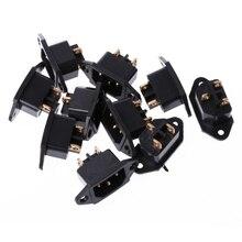 10 unids/set AC 250V 10A 3-Terminal de Pin IEC320 C14 entrada enchufe negro