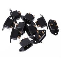 10 pçs/set ac 250 v 10a 3 pinos terminal iec320 c14 entrada tomada de alimentação preto socket a pcs set set 10 -
