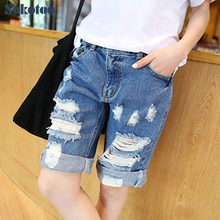 Sokotoo лета женщин рваные джинсы Мода boyfriend отверстия джинсовые Капри для женщин шорты Бриджи Бесплатная доставка