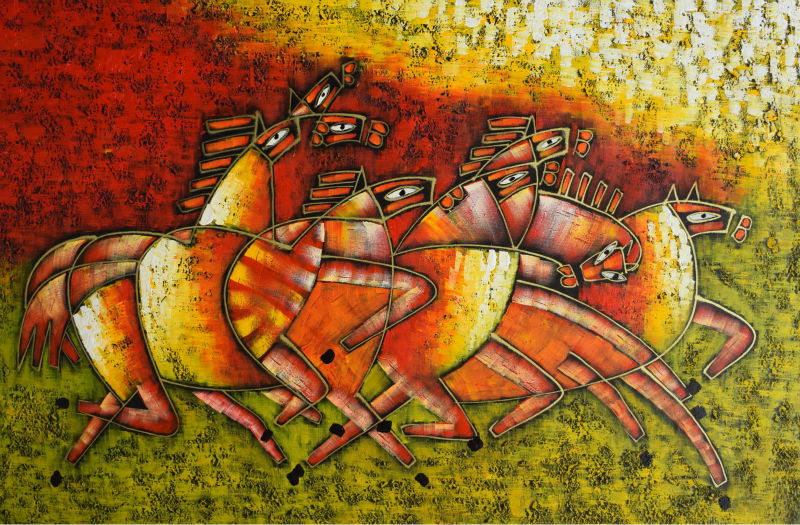 Hand painted oil painting on canvas abstract painting Modern Running Horses Wall art Picture for Living Room Home Decor in Painting Calligraphy from Home Garden