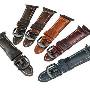 Image 5 - Maikes para apple pulseiras de relógio 42mm 38mm / 44mm 40mm série 4/3/2/1 iwatch azul cera de óleo pulseira de couro para apple pulseira de relógio