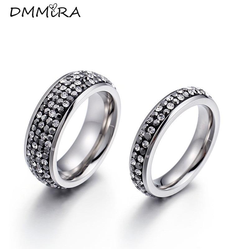 Heißer Verkauf Mode Frauen Männer Wie Ringe Doppel Kristall Edelstahl Wie Herzen Voller Bohrer Finger Ringe Hochzeit Schmuck