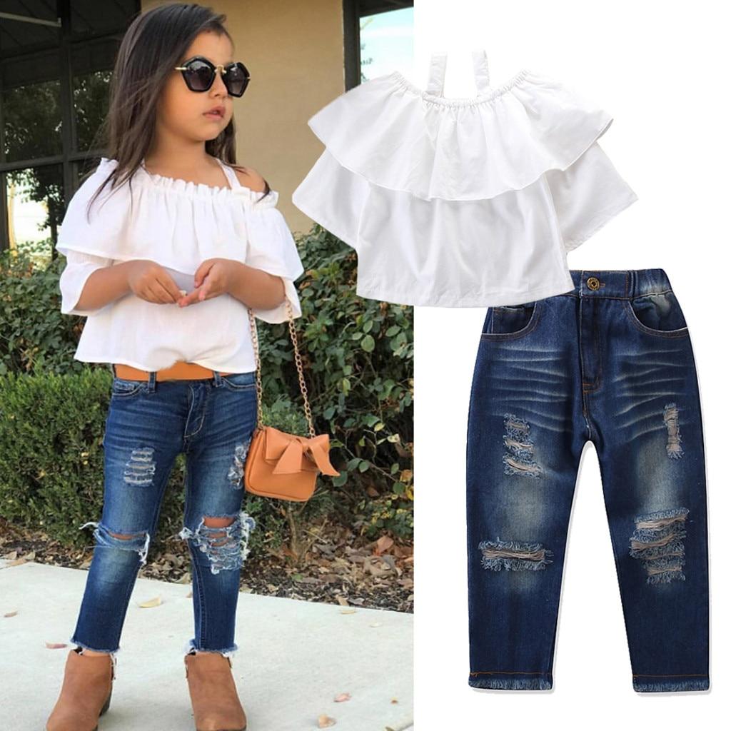 610ae999c443f MUQGEW Baby Girls Summer Clothes Off Shoulder T-shirt Tops+Denim Pants  Jeans Toddler