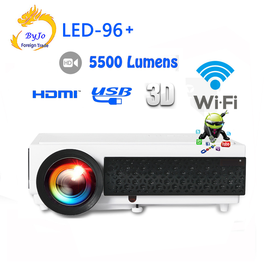 LED96+ wifi LED Android 3D Projector Gift 10m HDMI cable or SD Multi screen Home theater projector 5500 lums Vs bt96 led96 автокресло concord автокресло transformer t 2016 rose pink