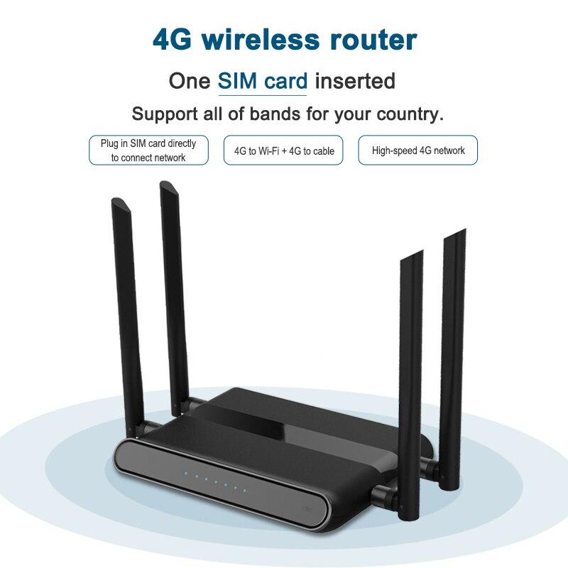 Routeur Wi-Fi 300 mbps avec emplacement pour carte sim et 4 antennes 5dbi prenant en charge vpn pptp et l2tp, routeur modem openvpn wifi 4g lte WE5926