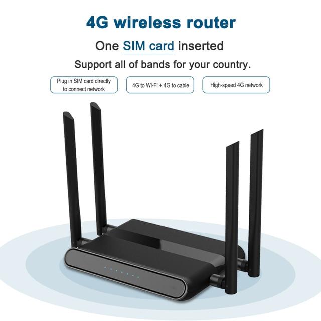 Sim 카드 슬롯 및 4 개의 5dbi 안테나가있는 와이파이 라우터 300 mbps는 vpn pptp 및 l2tp, openvpn wifi 4g lte 모뎀 라우터를 지원합니다. we5926