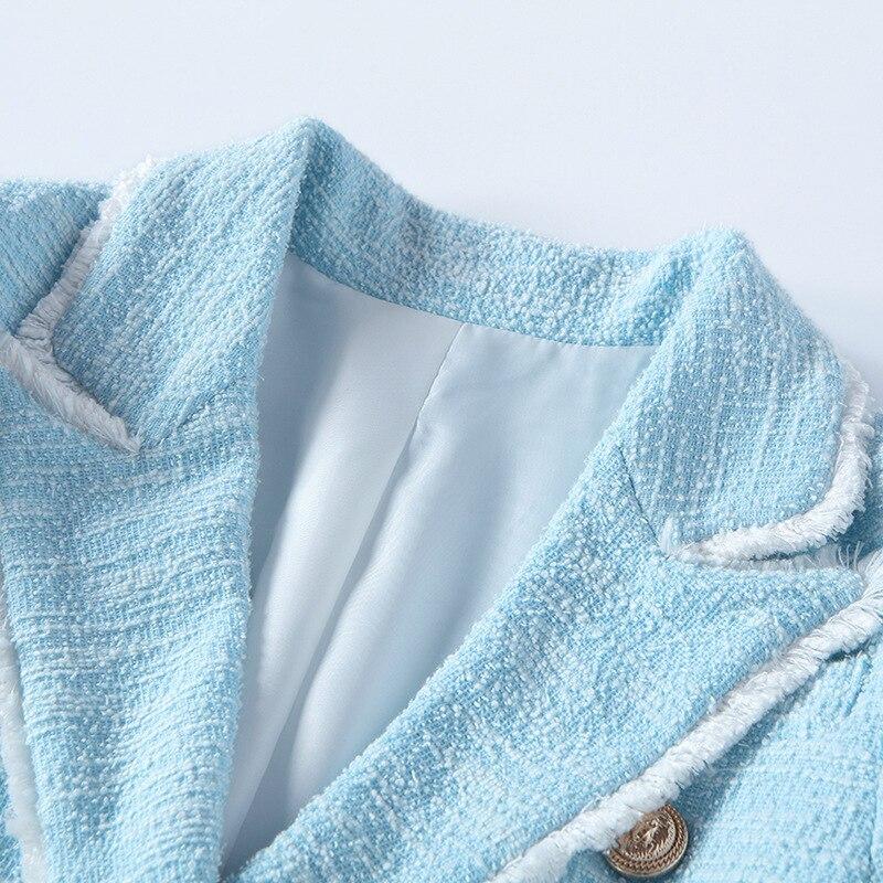 Chaude 2018 Breasted Mode Vestes Automne Double Hiver Bleu Manches Femmes Tweed Ciel Haute Courte C Qualité Pleine PIPrq