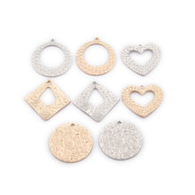 10pcs Metal Gold Jewelry making round heart shape charms for bracelet Earrings Necklace pendant handmade DIY jewelry material(China)