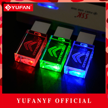YUFANYF 2017 pendrive 3 colors Red / blue / green LED CITROEN car LOGO USB falsh drive 4GB 8GB 16GB 32GB U Disk crystal gift