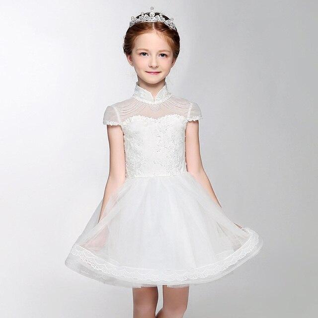 6d122b952 Blanco Estilo Chino vestidos de flores niña vestido de novia Abalorios  Cuello Alto niño niña vestido