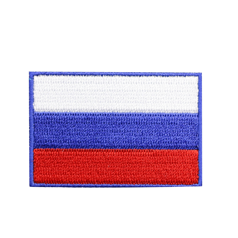 High Quality Small Iron On Russia Flag Patches Patriotic Military Patches  with Glue for Backpack Coat DIY