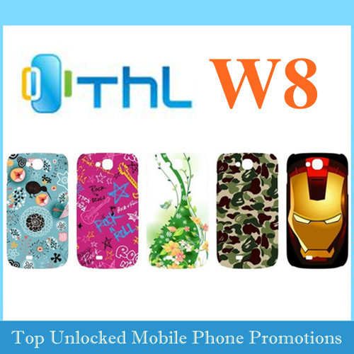 Original shell for THL W8 cell phone clear screen protector guard  backcover  protective matte case