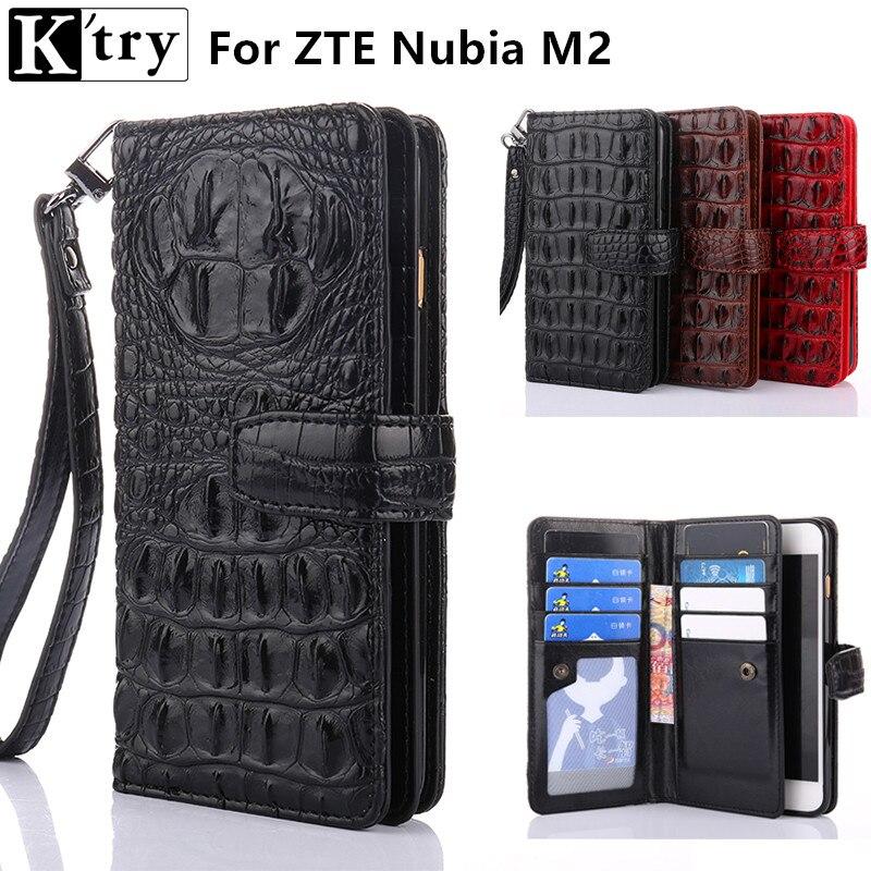 Ktry многофункциональный бумажник чехол для ZTE Нубия m2 5.5 дюйма Роскошные искусственная кожа с мягкой ТПУ флип чехол с ремешок