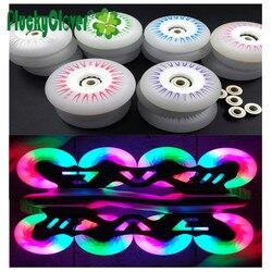 4 pçs/lote LED Piscando Rolo Patins Inline Roda 90A 60mm 64mm 68mm 70mm PU Deslizamento Crianças Patins de Slalom Patinar Rodas Sapatos Rodas