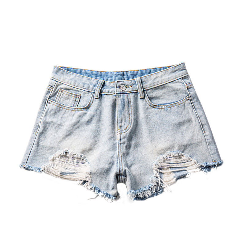 2019 Spring Summer New Ripped Hole Denim Shorts Fashion Casual Wide Leg Frayed Low Waist Shorts Plus Size