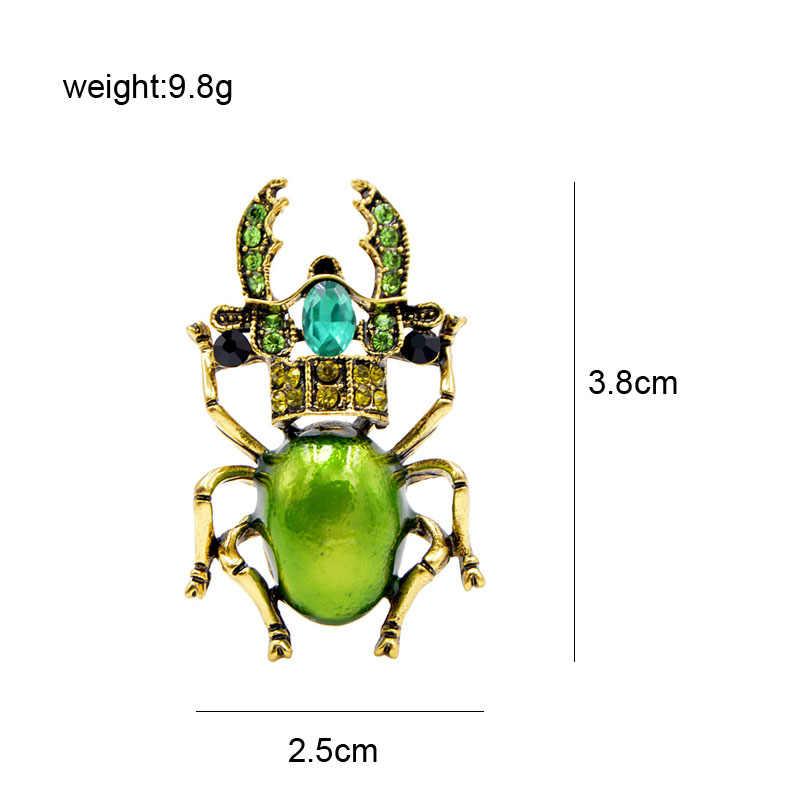 Cindy Xiang 3 Warna Tersedia Berlian Imitasi Beetle Bros untuk Wanita Enamel Serangga Bros Pin Bug Kecil Perhiasan Baru Hadiah