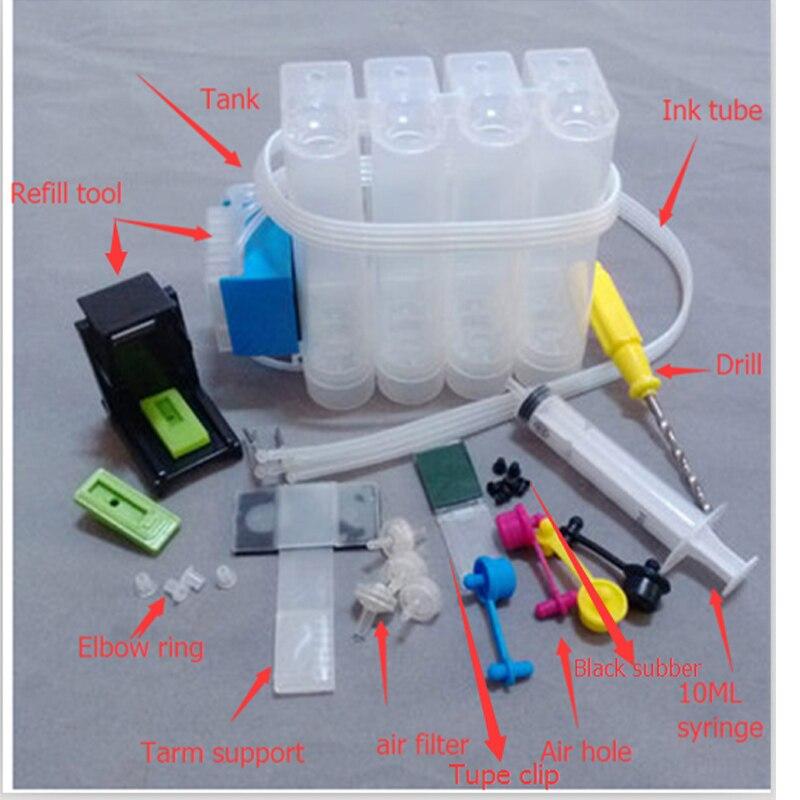 1 Set Ciss Ink Kit For Hp 652 652xl Deskjet 1115 2135 2136 2138