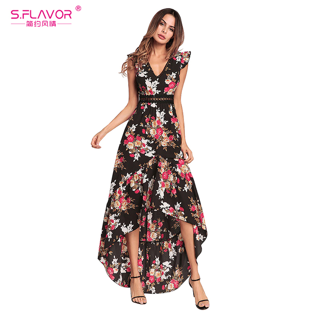 ffe8dfa4b22 S.FLAVOR Women printing dress floral print V-neck Irregular Bohemian Dress  women sleeveless backless party Vestido de fiesta
