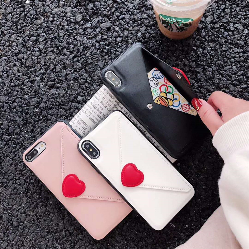 Luxury brand leather wallet case for iphone 7 8 plus fashion Envelope Card Pocket love heart pink 6 for iphone 6s x xs max xr 10 smartphone