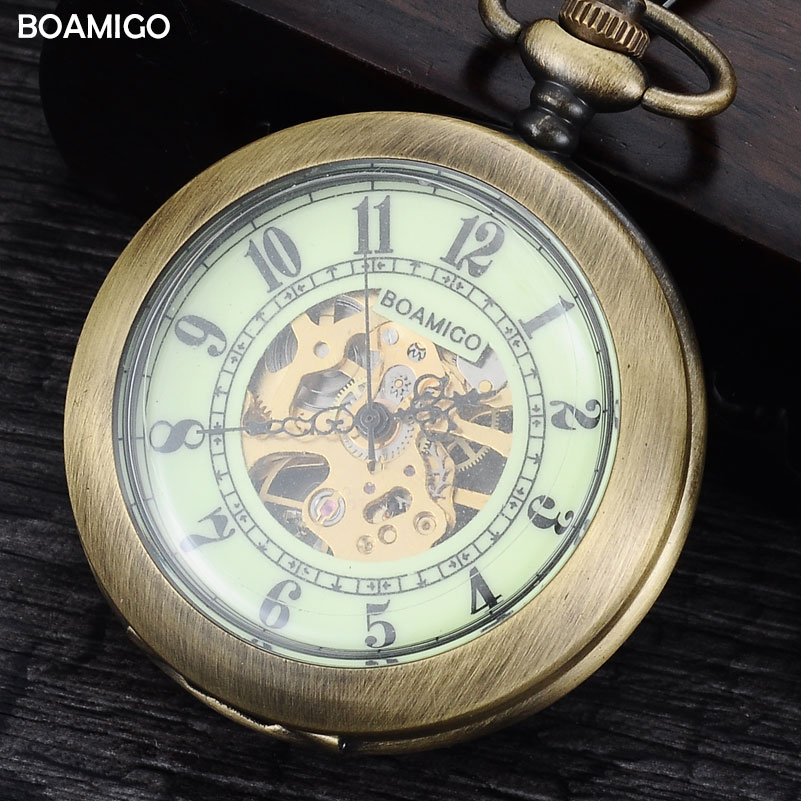 FOB men pocket watches antique mechanical watches skeleton copper gift clock alloy case luxury chain BOAMIGO brand reloj hombre luxury antique skeleton cooper mechanical automatic pocket watch men women chic gift with chain relogio de bolso