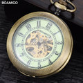 FOB men pocket watches antique mechanical watches skeleton copper gift clock alloy case luxury chain BOAMIGO brand reloj hombre