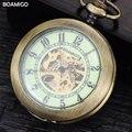 Homens fob relógios de bolso antigo relógios mecânicos esqueleto boamigo presente relógio caso da liga de cobre cadeia de luxo da marca reloj hombre