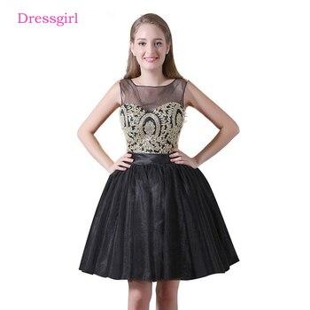 530e287db Negro 2019 vestidos de fiesta vestido de mangas de tul con cuentas de encaje  espalda abierta elegante vestidos de cóctel