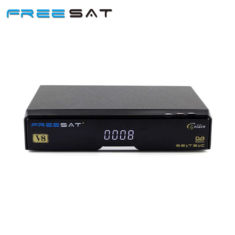 Genuine FREESAT V8 Golden & USB Wifi DVB-S2 + T2 +C Satellite TV Combo Receiver Support PowerVu Biss Key Cccamd Newcamd USB Wifi freesat v8 golden support powervu biss key cccam iptv usb wifi dvb t2 dvb s2 dvb c satellite receiver dvb t2 s2 cable receptor