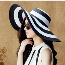 цена на Summer Female Sun Hats Visor Hat Big Brim Classic Black White Striped Straw Hat Casual Outdoor Beach Cap For Women UV Protection