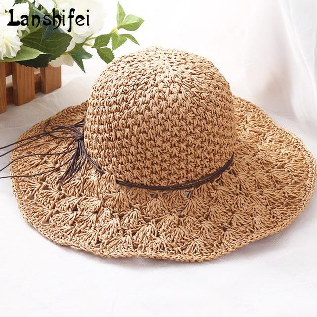 Wanita musim panas topi liburan sunset resort topi nelayan luar pantai  matahari topi jerami liar untuk 87b312dffd