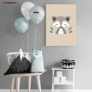 Image 5 - Animais da floresta dos desenhos animados quadros de arte da parede moderno quadros da lona do macaco veado raposa para crianças quarto do berçário decoração casa