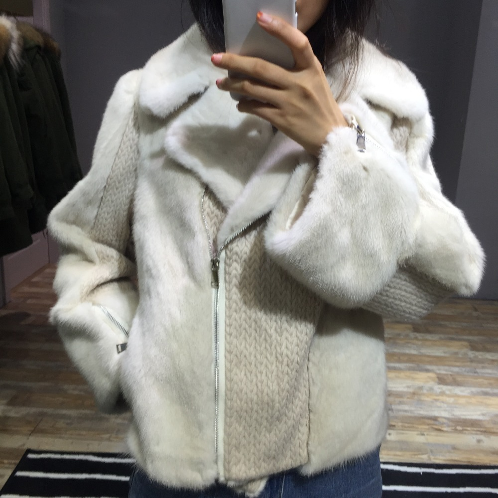 SQXR FUR Women's Winter Real Mink Fur Coat Fashion Luxury Mink Fur Jacket